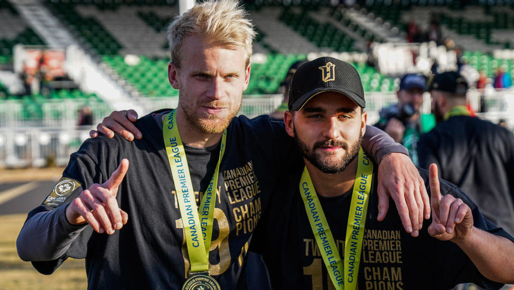 Kyle Bekker and Tristan Borges of Forge FC – Forever First, champions of 2019.