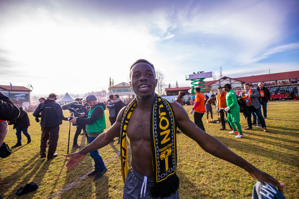 Forge FC defender Kwame Awuah celebrates after winning the CPL Finals. (Photo: CPL)