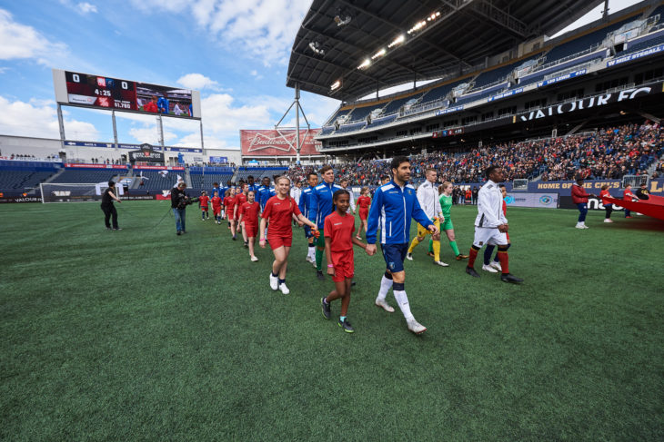 Valour FC's inaugural home match against the visiting FC Edmonton, May 4, 2019.