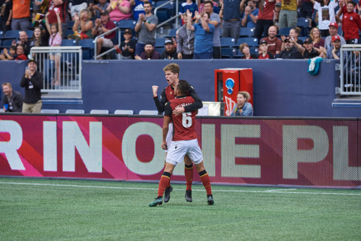 Celebration of Valour FC #16 Tyler Attardo's goal during Valour FC match against the visiting Pacific FC at IG Field June 20, 2019