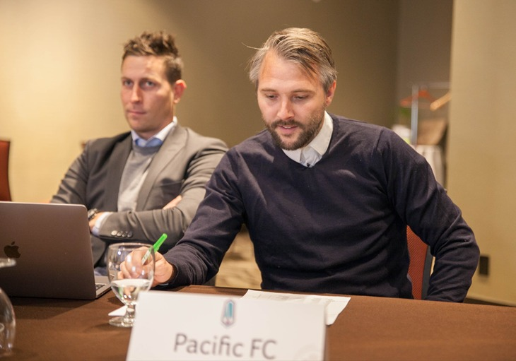 PFC assistant coach James Merriman, CEO Rob Friend and head coach Michael Silberbauer during last week's draft. (Joelle Elfassy/Canadian Premier League)