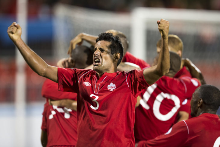 Ante Jazić celebrating a Team Canada goal in a World Cup Qualifying match v Panama.