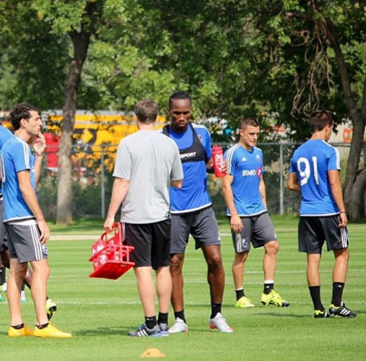 Sukunda (91 in this picture) got the chance to train alongside Didier Drogba at Montreal.