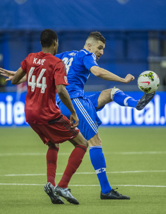 Chakib Hocine in action for FC Montreal in 2015.