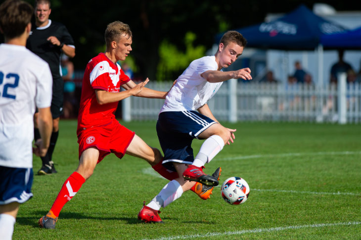 Scott Firth in action for HFX Wanderers Atlantic Selects vs Fortuna Düsseldorf U21 at the Wanderers Grounds last July.