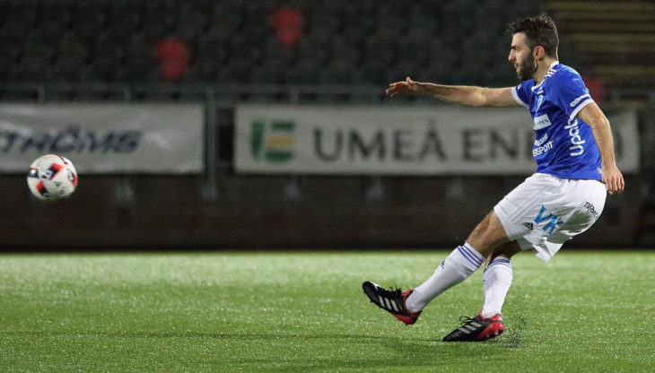 In action for Umeå FC, one of three Swedish teams Alex De Carolis has played for.
