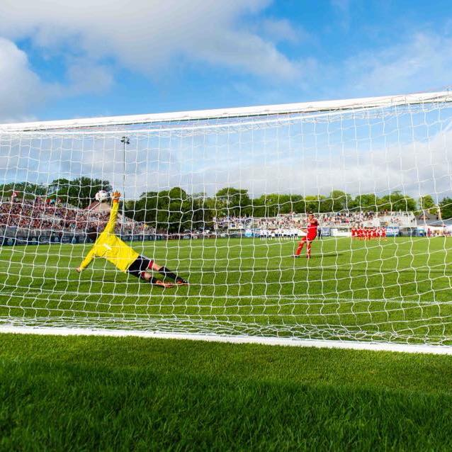 Christian Oxner making a spectacular penalty save against Fortuna Düsseldorf for the Wanderers Atlantic Selects.