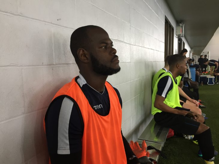 Jan-Michael Williams watching from the sidelines at the Wanderers training camp.