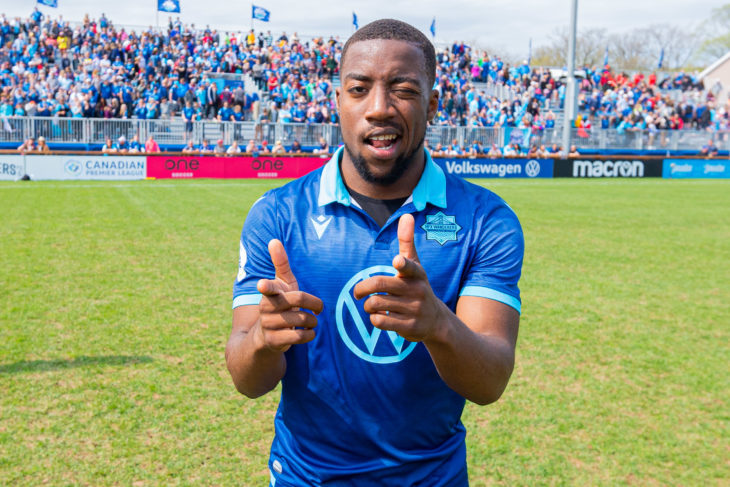 Zoom Langwa, celebrating the Wanderers win over Pacific in front of the sold out 6,244 Halifax crowd. Photo: Trevor MacMillan.