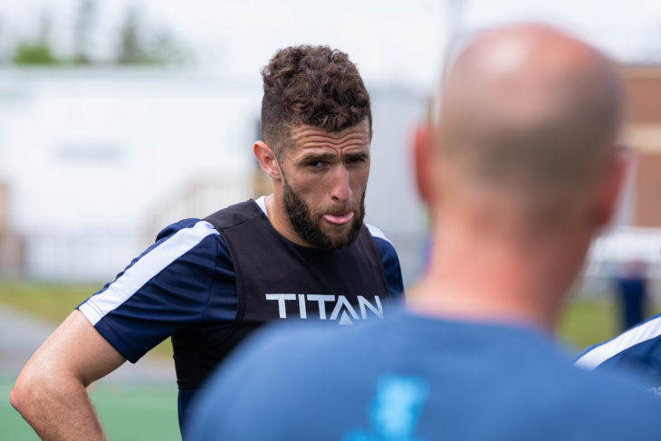 Defensive leader Chakib Hocine is back in full training and pushing for a place in the squad after recovering from injury. Photo: Trevor MacMillan.