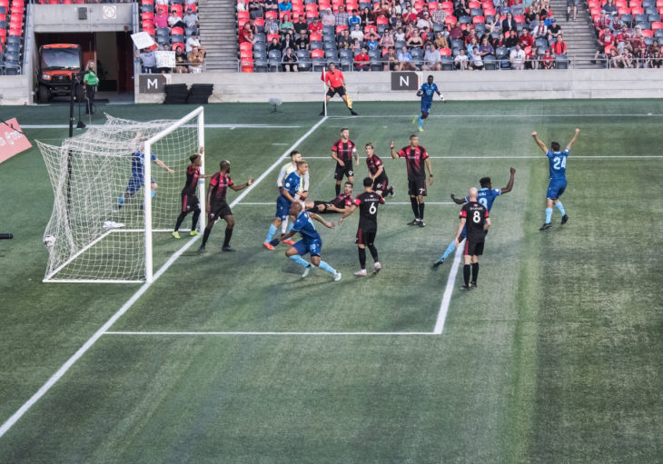 Luis Perea makes the net bulge for the Wanderers second goal in Ottawa. Photo: Steve Kingsman/Freestyle Photography for Ottawa Fury FC.