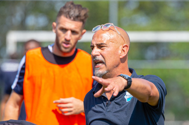 Wanderers coach Stephen Hart, shown at training Saturday, says the players are hoping to get back in the winning habit after a tough stretch of road games. Photo: Trevor MacMillan.