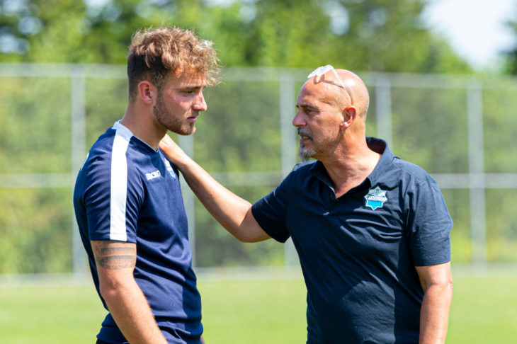 Coach Stephen Hart describes the big centre-back as a leader on and off the pitch. Photo: Trevor MacMillan.