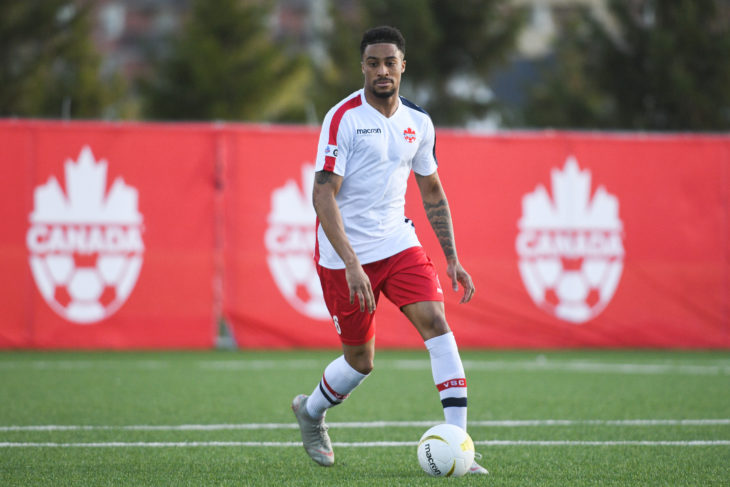 Duran Lee in action against the Wanderers in the Canadian Championship match in Vaughan. Photo: Vaughan Soccer Club.