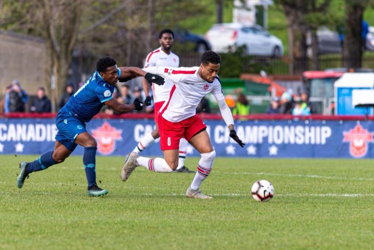 Stephen Hart was impressed with the way Lee contained the Wanderers Akeem Garcia in the Canadian Championship matches. Photo: Vaughan Soccer Club.