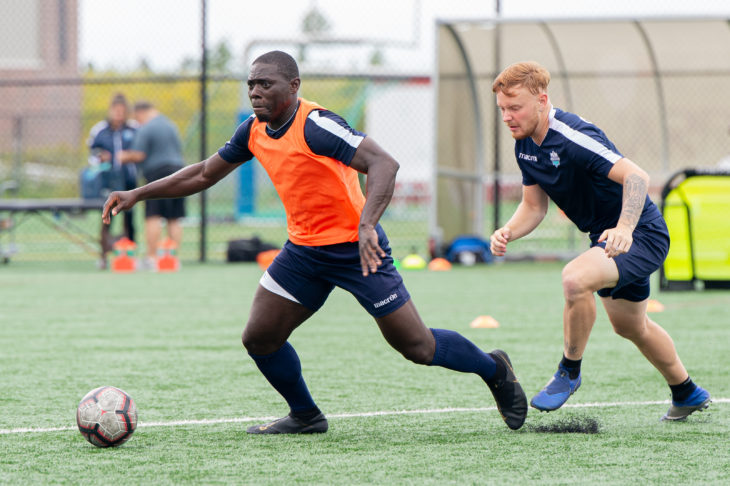 Kouamé Ouattara, shown at training, says the Wanderers players are hoping to continue a good run of results against Valour. Photo: Trevor MacMillan.