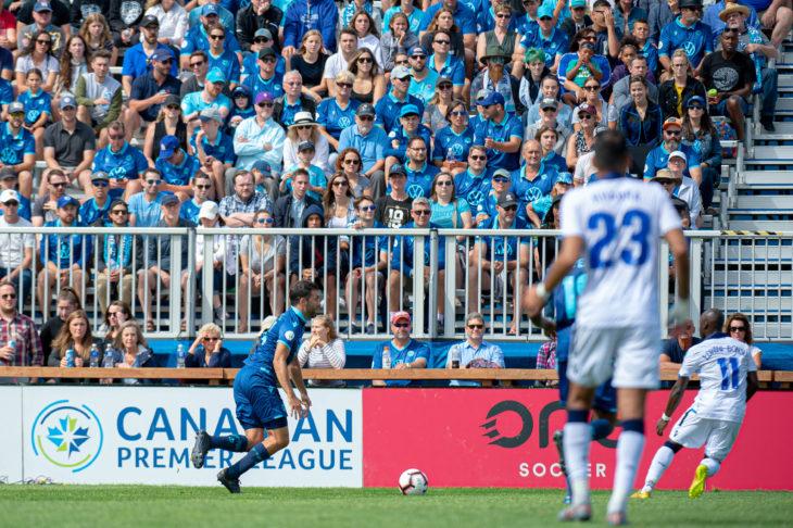Alex De Carolis, urged on by a packed home Wanderers Grounds crowd against FC Edmonton. Photo: Trevor MacMillan.