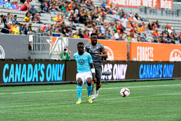 Mohamed Kourouma set up Garcia's goal and put it another strong shift on the left wing. Photo: Ryan McCullough.