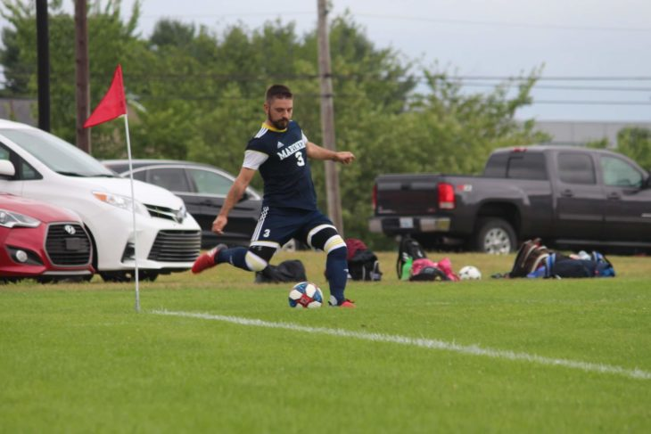 Wanderers fan, Lieutenant Jason Gallant, in action for the Mariners.