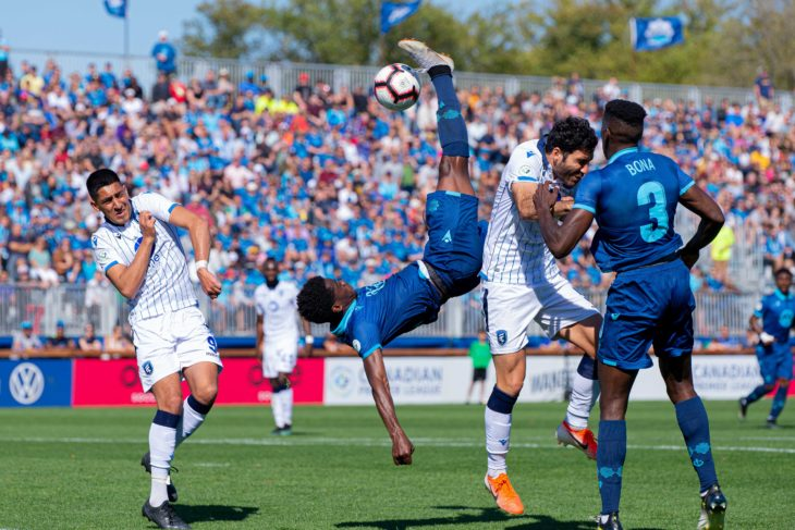 John went close with an acrobatic overhead kick against Edmonton. Photo: Trevor MacMillan.