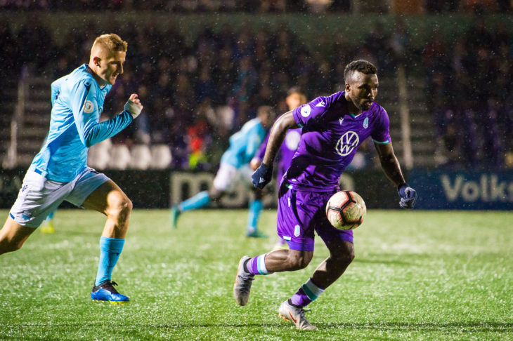 Skublak, who came on as a substitute, came close to winning the match for the Wanderers. Photo: Pacific FC.