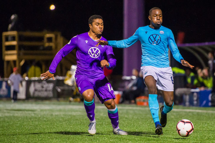 Chrisnovic N'sa says the Wanderers have taken some confidence from scoring a late equalizer at Pacific. Photo: Pacific FC.