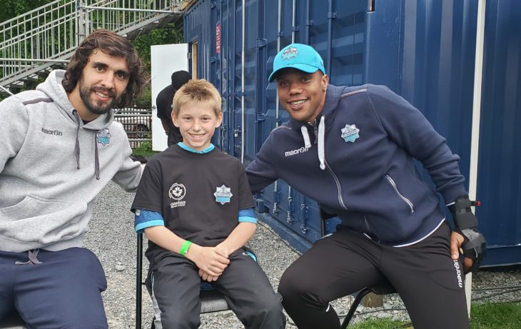 14-year-old Logan Gervais with Juan Diego Gutierrez and Luis Alberto Perea.