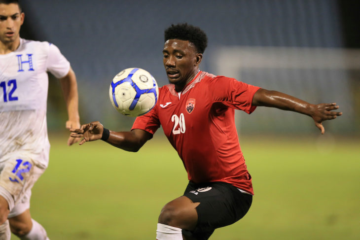 Akeem Garcia in action for Trinidad and Tobago at home against Honduras, October 10. Photo: Allan V. Crane/CA-images
