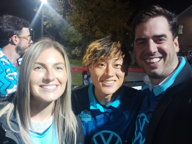Rod with Kodai Iida after the Wanderers last home match, alongside friend Katie.