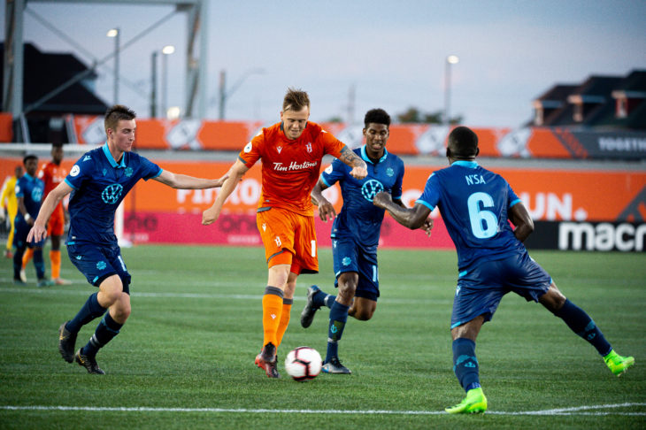 Firth in action at Tim Hortons field against Forge FC. Photo: Forge FC.