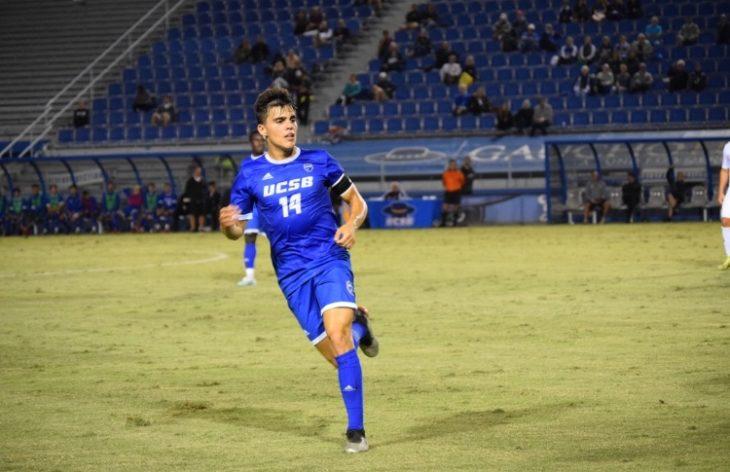 Mateo Restrepo in action for the University of California Santa Barbara Gauchos. Photo: Felipe Garcia.