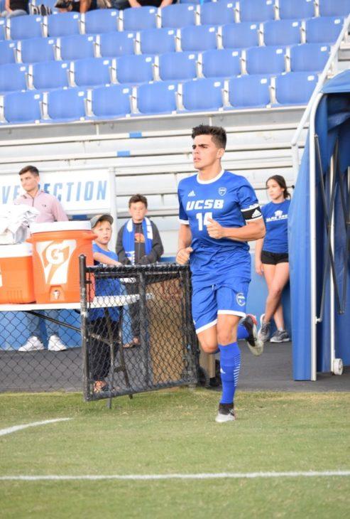 Restrepo leading out the Gauchos as captain. Photo: Felipe Garcia.