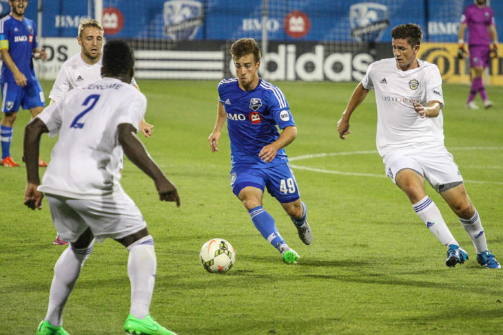 Alessandro Riggi in action for FC Montreal running at the Charlotte Independence defence at Stade Saputo, in Montreal, Quebec, Canada. Photo: Pablo A. Ortiz.