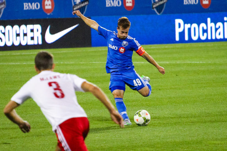 Riggi winding up for a strike on goal against New York Red Bulls II at Stade Saputo, in Montreal, Quebec, Canada. Photo: Pablo A. Ortiz.