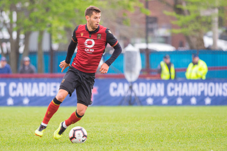 Béland-Goyette on the ball at the Wanderers Grounds in the Canadian Championship for Valour last June. Photo: Trevor MacMillan.