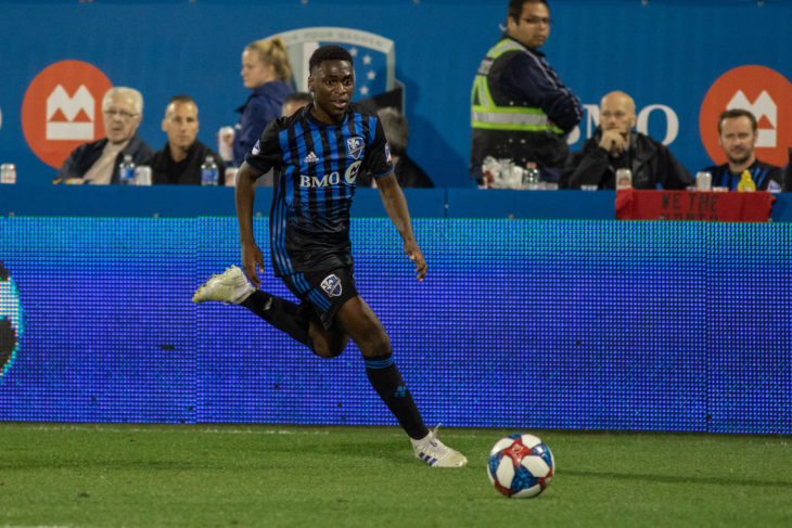 Kinumbe showing his pace with a break up the wing for Montreal Impact vs Seattle in June 2019. Photo: Montreal Impact.