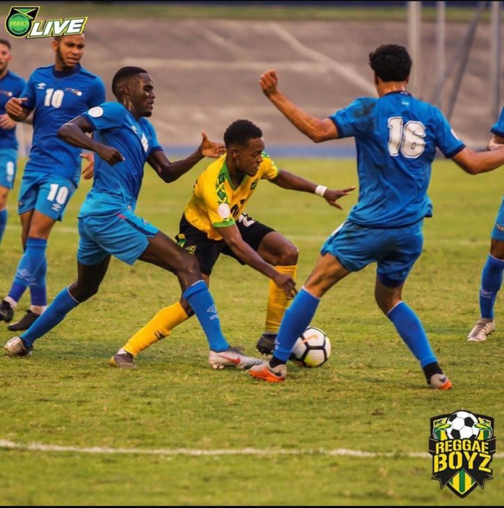 Marshall leaving defenders in his wake while playing for Jamaica. Photo: Jamaican Football Federation.