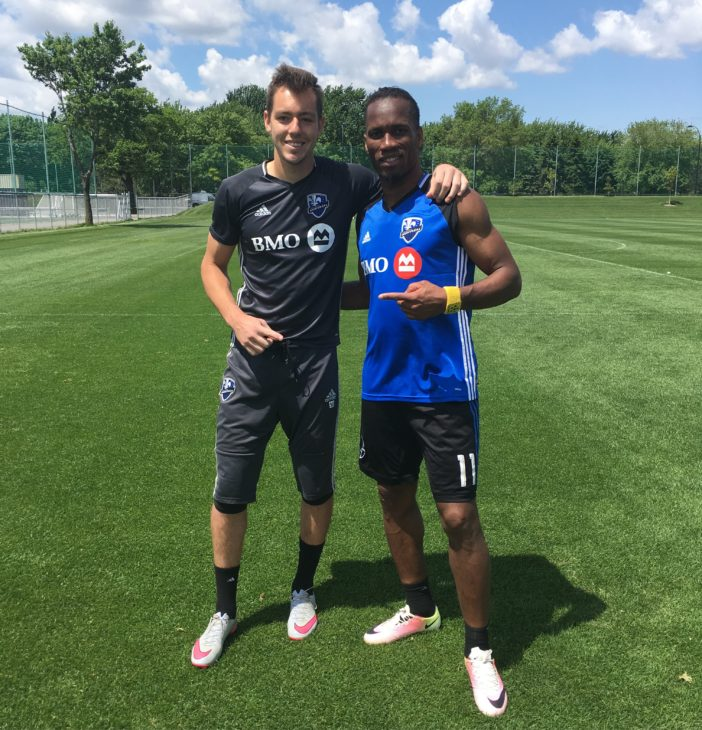 Jason with Didier Drogba at Montreal Impact training.