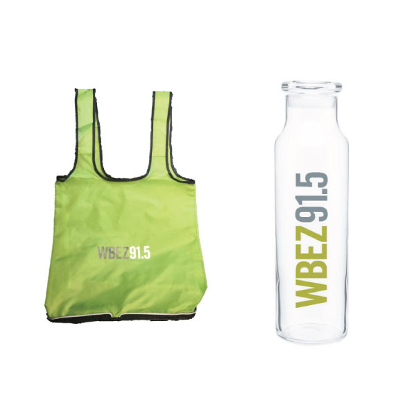 Tote Bag and Glass Water Bottle