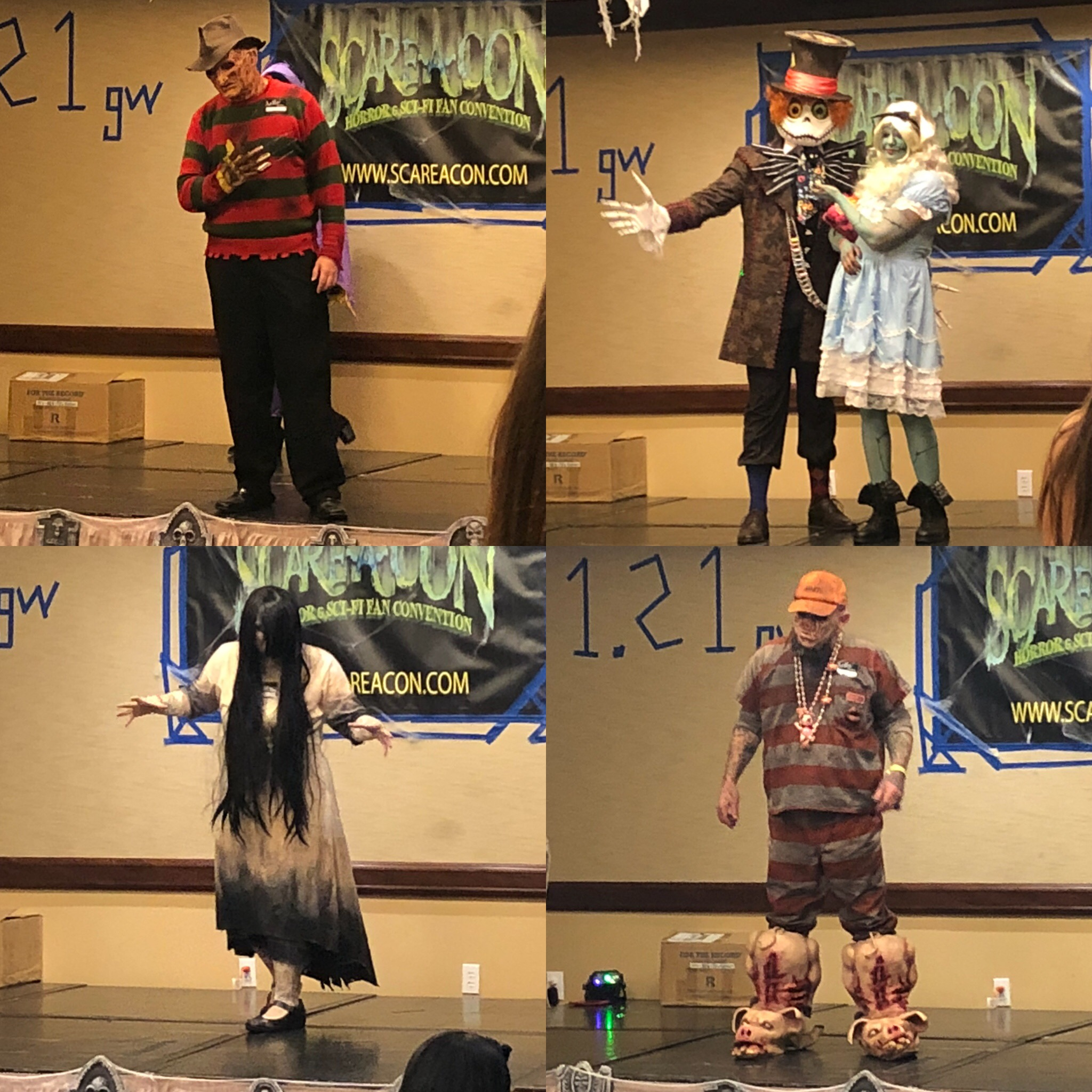Four images of people in horror costumes for a costume contest