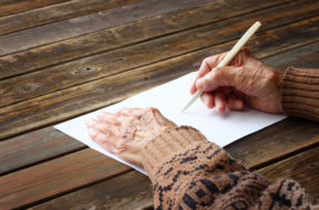 Grandmother writing a legacy