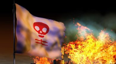 flag on fire signifying corrupted Christianity