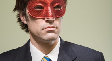 Chrsitianity at work - business man wearing mask