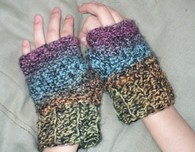 Crocheted gloves, hats, flowers and freeform by Laurie Wheeler
