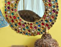 Bejeweled Boho Cardboard Mirror