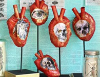 Paper Máché Anatomical Hearts