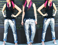 No Sew Sequin Boyfriend Jeans