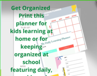 Printable Daily Kids Learning Planner Printable, To Do List, Checklist, Homeschool, Schedule