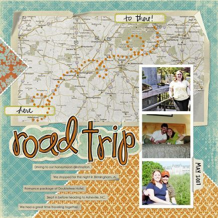 map layout for road trip scrapbook