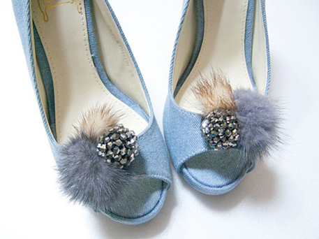 faux mink shoe clips